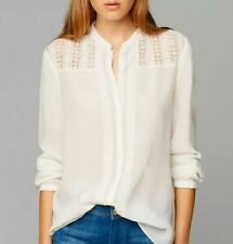 WOW Beautiful white bohemian embroidered ASOS forever 21 Blouse Top shirt M 6 8