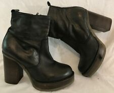 Deena&Ozzy Black Ankle Leather Lovely Boots Size 39 (44Q)