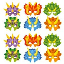 12 Dinosaur Printed Card Masks for Kids Party Bags