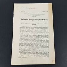 Vtg Iowa Agricultural Experiment Station Feeding Minerals to Fattening Steers