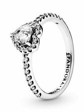 Authentic PANDORA #198421c01-58 Elevated Heart Ring With Clear CZ Size 8.5