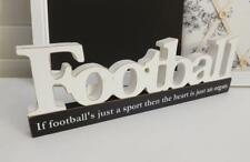 FOOTBALL BLOCK SIGN  WOODEN FREE STANDING  WHITE   37cm X 11cm x 2cm