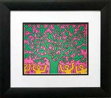 """Keith Haring """"KH01"""" CUSTOM FRAMED Pop Art Lithograph Tree Life People"""