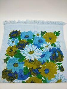 Vintage Floral Bath Towel Blue Cotton 21 x 39 inches Light Stains Vibrant Colors