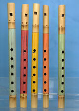 FIVE BAMBOO FLUTES 12 inch wooden hand made recorder fair trade Party favor gift