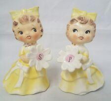 Vintage Salt & Pepper Shakers Girls Yellow Dress Flowers-Adorable!