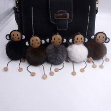 Keyring Soft Monkey Faux Fluffy Rabbit Fur Handbag Pendant Charm PomPom Keychain