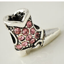 White Gold Plated Womens Pink Topaz Silver Boots Stone Pendant For Long Necklace