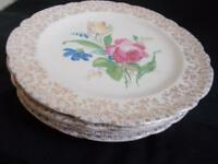 lot of 6 Fairbanks Ward SHARON ROSE DINNER PLATES Ornate 22 Kt GOLD RIM antique