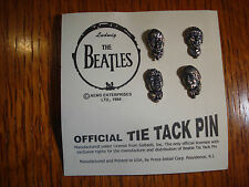 Beatles Tie Tac Pins Set Pewter Figural Heads On Card