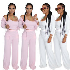 3pcs Sets Women Fashion Spaghetti Strap Vest Crop Tops Coat Long Pants Outfits