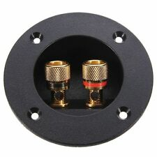 1X Plug Round Boxes With 2 Banana Jack Subwoofer Speaker Terminal Connectors