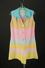 Vtg Women's 60s Pink Blue & Yellow Pastel Striped Romper Sz L 1960s