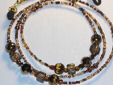"Eyeglass Chain~Brown/Gold Multi~28""~Tortoise Shell~Fancy Ends~ Buy 3 SHIP FREE~"