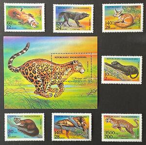 MADAGASCAR WILD ANIMALS STAMPS SET + SS 1995 MNH WILDLIFE WOLF LION WILDCAT FOX