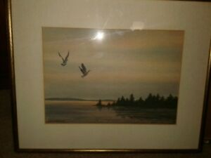 ART WATERCOLOR PAINTING OF TWO GEESE FLYING AT NIGHT ARTIST LISTED