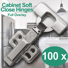 100 x Soft Close Cabinet Door Hinges Full Overlay Clip on Cupboard Hydraulic