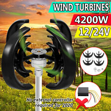 4200W DC 12/24V 4 Blades Lantern Wind Turbine Generator Vertical Axis Home Power