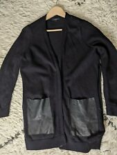 Cos navy Cardigan Size Small leather pockets