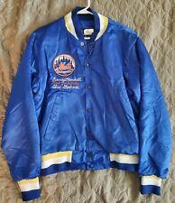 NEW YORK METS Custom Embroidered satin baseball jacket size L MLB Swingster
