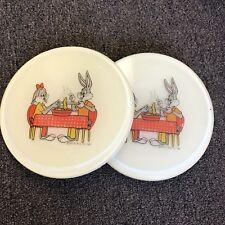 2 Vintage Warner Bros 1981 Hot Plate collectible Bugs Bunny & Lola Looney Tunes