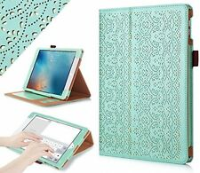 Apple iPad Pro 9.7 Protective Case Premium PU Leather Laser Flower Mint Green