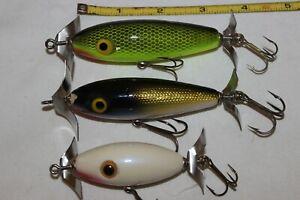 3 Used Vtg OZARK MOUNTAIN WOOD CHOPPER Wood Surface Fishing Lures 1 LUHR JENSEN
