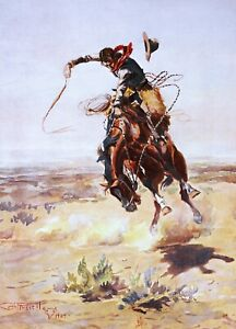 A Bad Hoss Painting by Charles Marion Russell Reproduction