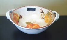 New Tahari Harvest Autumn Thanksgiving Pumpkin Melamine Serving Bowl w/Handles