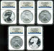 2011 $1 Silver American Eagle 25th Anniversary Set of 5 PF69 NGC 2566596-017