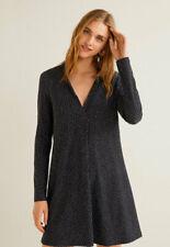Mango Veldu Expanding Mini Dress With Long Sleeves Black/white UK 10 Vr131 011