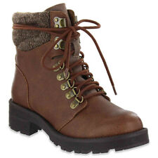 WOMEN'S MIA LINDSEY SWEATER CUFF LACE-UP BOOTS, BROWN, Size: 7.5