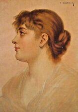Victorian Pretty Lady, Portrait, An American Girl Vintage 1890 Antique Art Print