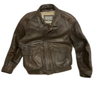 Wilsons Heavy Leather Bomber Jacket Mens Size Large Thinsulate Brown w/ Liner