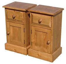 Pair of Hand Waxed Solid Pine Bedroom 1 Door 1 Drawer Bedside Pot Cupboards