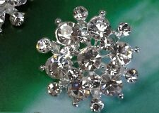 23mm Crystal Clear Glass Rhinestone Silver Metal Button Bridal Embellishment x10