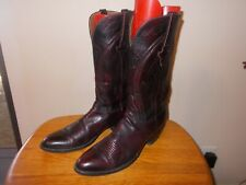 Men's Lucchese L6630 Goat Skin Black Cherry Leather Western Cowboy Boots 13 AA