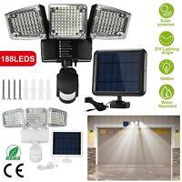 3 Head Solar Motion Sensor Wall Flood Light 188 LED Garden Security Lamp 1600lm