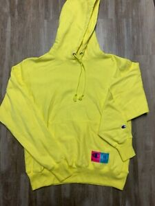 NEW Champion Reverse Weave Yellow Box Logo hoodie sweatshirt SZ Medium M Mens