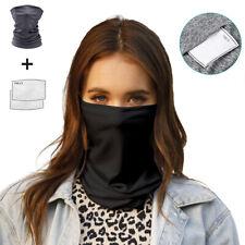 Neck Gaiter Face Shield Tube Bandana Fishing Balaclava Headband with 2X Filter