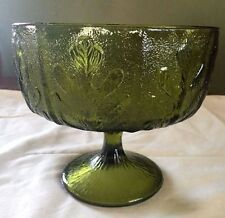 Vintage Ftd Pedestal Bowl Oak Leaf Green Glass Avocado Schooner Stippled