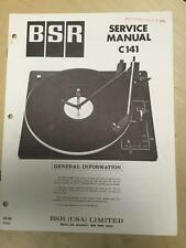 BSR Service & User Manual for the C141 Turntable Record Changer