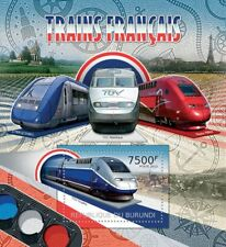 Les trains de France SNCF TGV/Z-TER/THALYS PBKA TIMBRE FEUILLE (2012 Burundi)