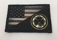 USA Flag Boston Bruins Hockey Morale Patch Tactical Military Army Badge