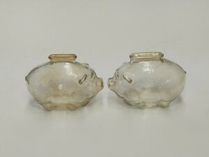 VINTAGE LOT OF 2 ANCHOR HOCKING SMALL TEXTURED GLASS PIGGY COIN BANKS