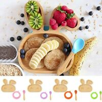 2020 Baby Toddler Bamboo Sheep Plate Silicone Suction Feeding Bowl Spoon Set