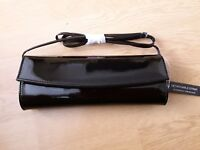 DOROTHY PERKINS GLOSSY PATENT STRUCTURED CLUTCH BAG BLACK BRAND NEW WITH TAGS