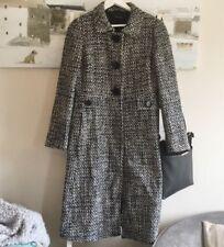 Laura Ashley Size 12 Long Boucle Textured Coat  Wool Blend