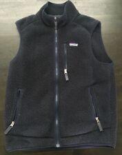 Patagonia Vintage Retro Looking Fleece Vest Full Zip Men's Medium Navy Blue Used