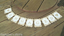 ENGAGEMENT party banner rustic w/doilies-decoration-bunting flags,garland,sign
